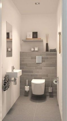 Space Saving Toilet Design for Small Bathroom In the event that you are one of the a huge number of individuals around the globe who needs to bear the claustrophobia of a little restroom, help is within reach. Modern Small Bathrooms, Modern Bathroom Design, Bathroom Interior Design, Bathroom Designs, Bathroom Small, Bathroom Grey, Bathroom Mirrors, Simple Bathroom, Bath Design