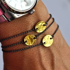 Gold Disc Bracelet by VivienFrankDesigns on Etsy