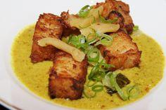 People's Eatery, Toronto daikon cakes - mild coconut curry sauce, green onion (no chilis)