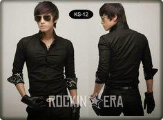 Jual Kemeja Hitam Korea Style   Rockin Era