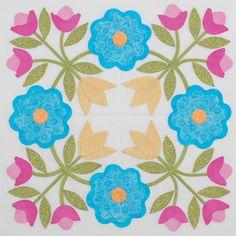 Foribunda by Erin Russek - Block 12 Applique Quilt Patterns, Applique Designs, Felt Patterns, Dress Patterns, Quilting Projects, Quilting Designs, Bird Quilt, Machine Applique, Flower Applique