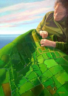Irish Art - I Will Give You Ireland / Pintura do quilt irlandês by Barrie Maguire