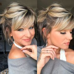 No foundation used Short Hair Styles Easy, Short Hair With Layers, Short Hair Cuts, Medium Hair Styles, Pixie Styles, Headbands For Short Hair, Short Hair Updo, Haircuts For Fine Hair, Hair Affair