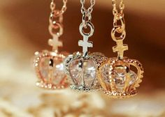 Free Shipping Stunning Rhinestone Inlaid Crown Shape Pendant Necklace from Woman Fashion on Storenvy