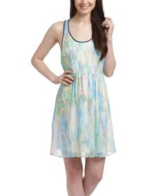 Look at this White & Blue Watercolor Racerback Dress on #zulily today!