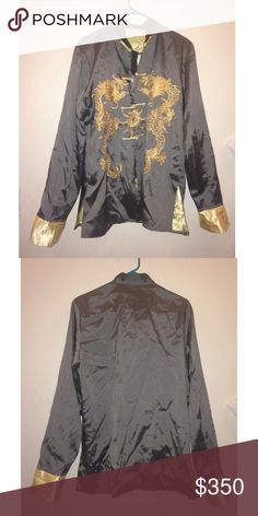 Vintage Oriental Silk Jacket ✨ Vintage Oriental Unisex Jacket ✨ Size large, flawless condition, amazing quality. Double dragon design, silk material. I bought this beautiful jacket in Beijing. Shop my page !  Happy Poshing 🎊 Jackets & Coats