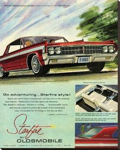 size: Stretched Canvas Print: GM Oldsmobile - Go Adventuring : Using advanced technology, we print the image directly onto canvas, stretch it onto support bars, and finish it with hand-painted edges and a protective coating. Vintage Advertisements, Vintage Ads, Vintage Shoes, Automobile, Truck Design, Car Advertising, Us Cars, Old Ads, Retro Cars