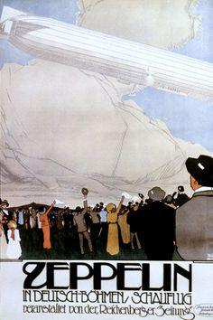 A Zeppelin German Air Show poster Fine Art Posters, Fine Art Prints, Framed Prints, Canvas Prints, Kaiser Wilhelm, Air Show, Vintage Travel Posters, Bond, Dieselpunk