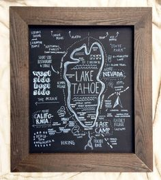 lake tahoe custom chalkboard map rustic wood frame