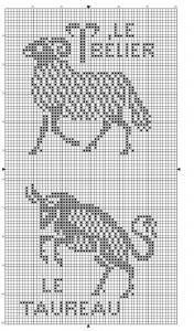 Zodiac 02 | Free chart for cross-stitch, filet crochet | Chart for pattern - Gráfico