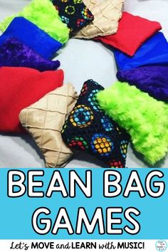 "Now for the five reasons to play with bean bags! 1- Bean Bag Games Feel like ""Playing"". 2- Bean Bag Games Foster Learning. 3- Bean Bag Games are Great Transition Activities 4- Bean Bag Games Build Classroom Community 5- Bean Bag Games are FUN! beanbagactivities, #musiceducation, #movementandmusic, #beanbagmusicgames, #beanbaggames, #singplaycreate"
