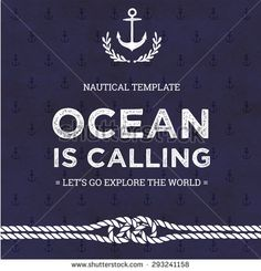 Nautical Vector Card Template With Rope Knot. - stock vector