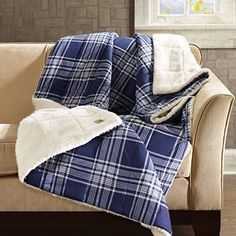 Blue White Plaid Pattern Down Alternative Oversize Blanket 50Wx70L Elegant Tartan Check Sofa Throw Super Soft Extra Warmth Winter Season Bedding Best Christmas Gift Polyester