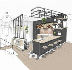 Another little kitchen to show you in a bistro style … – tacheau melanie Hello friends ! Another little kitchen to show you in a bistro style … – tacheau melanie – Room Interior, Interior Design Living Room, Bistro Interior, Bistro Decor, Kitchen Room Design, Interior Design Sketches, Little Kitchen, Kitchen Small, Design Case