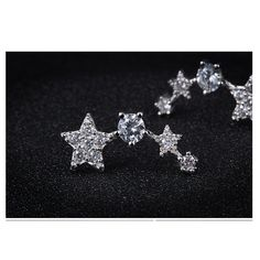 S&E Women's 925 Sterling Silver Shooting Stars Design Crystal Stud Earrings: Amazon.co.uk: Jewellery
