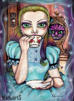 Original ManuartS / Manuel da Cunha Vega Theme: (Alice in Wonderland) Title: Tea time Size: (16.1 / 11.3 x 2/4 inches) / (42 x 29,7 cm) Techniques: watercolors, ink, colored pencil watercolors, acrylic paint, pastels, details gel pen on paper 220 grm BIN: 300 USD Start Bid: 140 USD Shipping: 20 USD