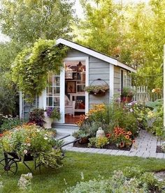 beautiful little she shed with a garden, backyard ideas for she shed shed design shed diy shed ideas shed organization shed plans Backyard Sheds, Backyard Landscaping, Backyard Studio, Backyard Retreat, Shed Conversion Ideas, Cottage Garden Sheds, Backyard Cottage, Shed Office, Shed Organization