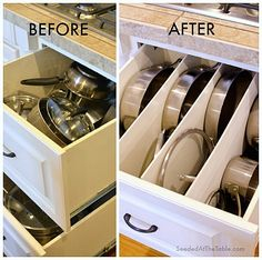DIY Minutes To Make Pot And Pan Drawer Dividers ! Easy Assecible Tons of Counter Space Kitchen Storage Solution!
