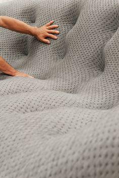 """Fitting the upholstery fabric for the """"Ploum"""" sofa, Ligne Roset. Ronan & Erwan Bouroullec / Febrik (upholstery)."""