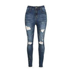 Rotita Zipper Closure High Waist Pocket Distressed Jeans ($35) ❤ liked on Polyvore featuring jeans, pants, navy blue, ripped skinny jeans, skinny jeans, high rise skinny jeans, ripped jeans and high-waisted jeans