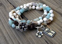 Boho Knotted Wrap Bracelet, Triple Wrap, Convertible necklace, Amazonite, Shell, Flowers, Silver Dragonfly charm, leather button closure