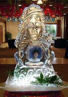 Woman Psychic with Photo in Glass Ball for Birthday | Full Spectrum Ice Sculptures