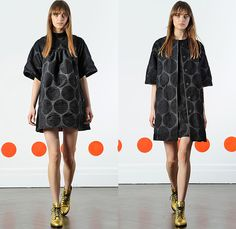 Lisa Perry 2015-2016 Fall Autumn Winter Womens Lookbook Presentation - New York Fashion Week NYFW - Retro Vintage 1960s Sixties Stripes Zigzag Geometric Circles Colorblock Perforated Mesh Organic Metallic Gold A-Line Cocktail Maxi Dress Orange Shirtdress Outerwear Coat Jacket Wide Leg Trousers Palazzo Pants Furry Hanging Sleeve Hoodie Leopard Sheer Chiffon