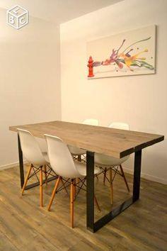 table de salle a manger metal et bois ameublement paris leboncoin fr steel