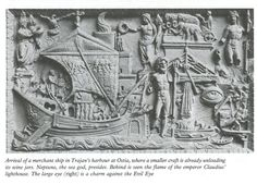 Sculptural relief showing a Roman merchant ship arriving at dock at the port of Ostia.