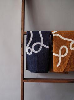 "Navy Blue ""Scribble"" tea towel, Screen-Printed on Natural Dyed Indigo Cotton Feedsack Fabric. $22.00, via Etsy."