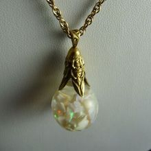 Large Horace Welch Floating Opal Pendant 14K Gold Art Deco Mount