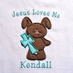 "Love the ""Jesus Loves Me.""  Bunny would also be cute in lavender, teal, pink, or blue. Easter Bunny with Cross Custom Shirt with by SewStitchingSweet2"