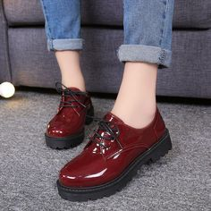 06a0361af30 Classic Women Low Heel Pump Shoes Punk Girl Lace Up Loafers Simple Size  Flats