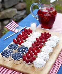 A portable version of the popular Flag Cake, this American themed treat is designed to inspire. Get the recipe! - GoodHousekeeping.com