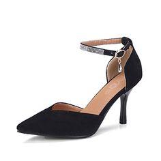 4f6ae0f11de OALEEN Escarpins Femme Sexy Bout Pointu Strass Bride Cheville Talon Haut  Chaussuress Eté Soirée Noire 42