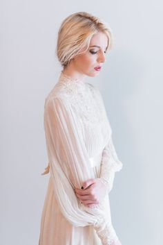 NEW LISTING 1960s Chiffon and Lace Pleated Wedding by ShopGossamer, $485.00