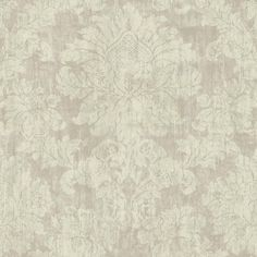 Luray Damask Wallpaper in Grey by Ronald Redding for York Wallcoverings