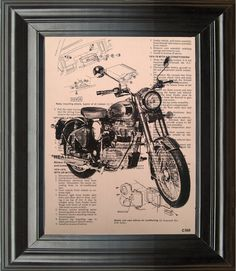 Dictionary Art Vintage Motorcycle Recycled book art print illustration motorcycle upsycle under 25 10 for him gifts boyfriend dad brother. $9.99, via Etsy.