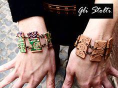 """Bracciali in ceramica lavorata e dipinta a mano """"Revolucion"""". Gli Stolti Original Design. Handmade in Italy.  http://gli-stolti.blogspot.it/2013/05/tzompantli-collezione-gli-stolti.html  #moda #artigianato #design #madeinitaly #shopping #roma #bijoux #primavera"""