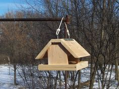 Winter bird feeder roof covers platform by Woodinthingscom on Etsy