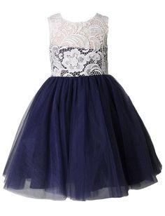 Thstylee Lace Tulle Flower Girl Dress Little Girl Toddler Kids Wedding Dresses Size US 4T Navy Blue