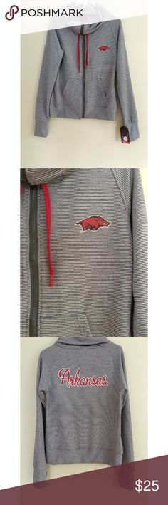 Arkansas Razorbacks Zip NWT LICENSED- Colosseum MD This OFFICIALLY LICENSED Women's Medium NCAA TEAM APPAREL Arkansas Razorbacks Zip Partial Hoodie in Gray is New with Tags. It is 92% polyester and 8% spandex.  It will help you support your college team with style! 💁🏻 Colosseum Tops Sweatshirts & Hoodies