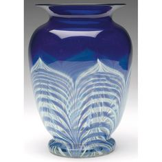 Good Durand vase, broad shouldered form in cobalt blue glass with pulled feather design