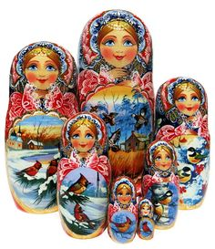 One-of-a-kind 7-piece nesting doll features beautiful hand painted outdoor scenes with cardinals and other realistic portraits of birds. Free US Shipping.