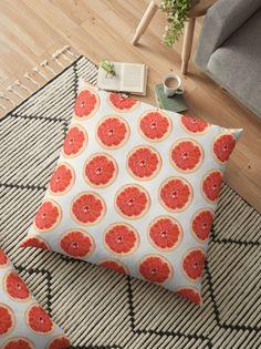 'Grapefruit Slice Pattern' Floor Pillow by houseofenigma Duvet, Bedding, Floor Pillows, Throw Pillows, Floor Patterns, Grapefruit, Flooring, Blanket, Down Comforter