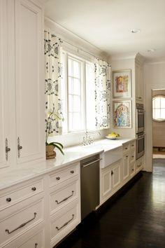 trendy kitchen floor with white cabinets double ovens Wood Floor Kitchen, White Kitchen Cabinets, Kitchen Cabinetry, Kitchen Flooring, New Kitchen, Kitchen Decor, Kitchen White, Tall Cabinets, Espresso Kitchen