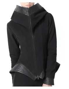 Leather Trim Peplum Jacket
