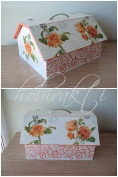 ♥♥ Hobi Vakti ♥♥: Benim Yaptıklarım Arte Country, Wooden Boxes, Painting On Wood, Decoupage, Diy And Crafts, Decorative Boxes, Home Decor, Boxes, Log Projects