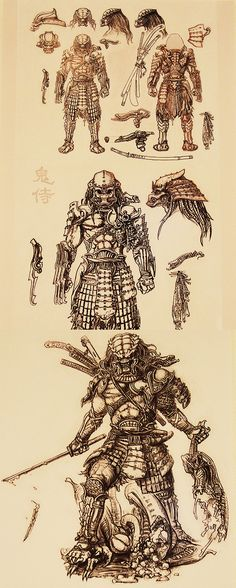 Bocetos del Predator diseñado por TAKAYUKI TAKEYA