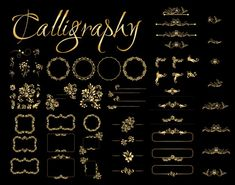 Golden calligraphic design elements on black background. All Free Vector, Vector Free Download, Free Vector Graphics, Vintage Grunge, Vintage Floral, Business Logo Creator, Free Banner Templates, Menu Templates, Merry Christmas Text